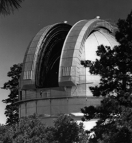 The 100-inch telescope at Mt. Wilson. Image courtesy of the Observatories of The Carnegie Institution for Science and The Huntington Library.