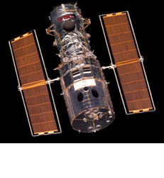 Hubble Space Telescope with solar panels deployed. Courtesy of the Hubble Space Telescope Institute and NASA.