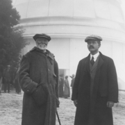 Andrew Carnegie (left) and George Ellery Hale stand in front of the dome of the 60-inch telescope at Mt. Wilson in 1910.  Image courtesy of The Observatories of The Carnegie Institution for Science and The Huntington Library.