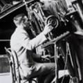 Edwin Hubble in 1922 observing on the 100-inch telescope. Image courtesy of the Observatories of The Carnegie Institution for Science and The Huntington Library.